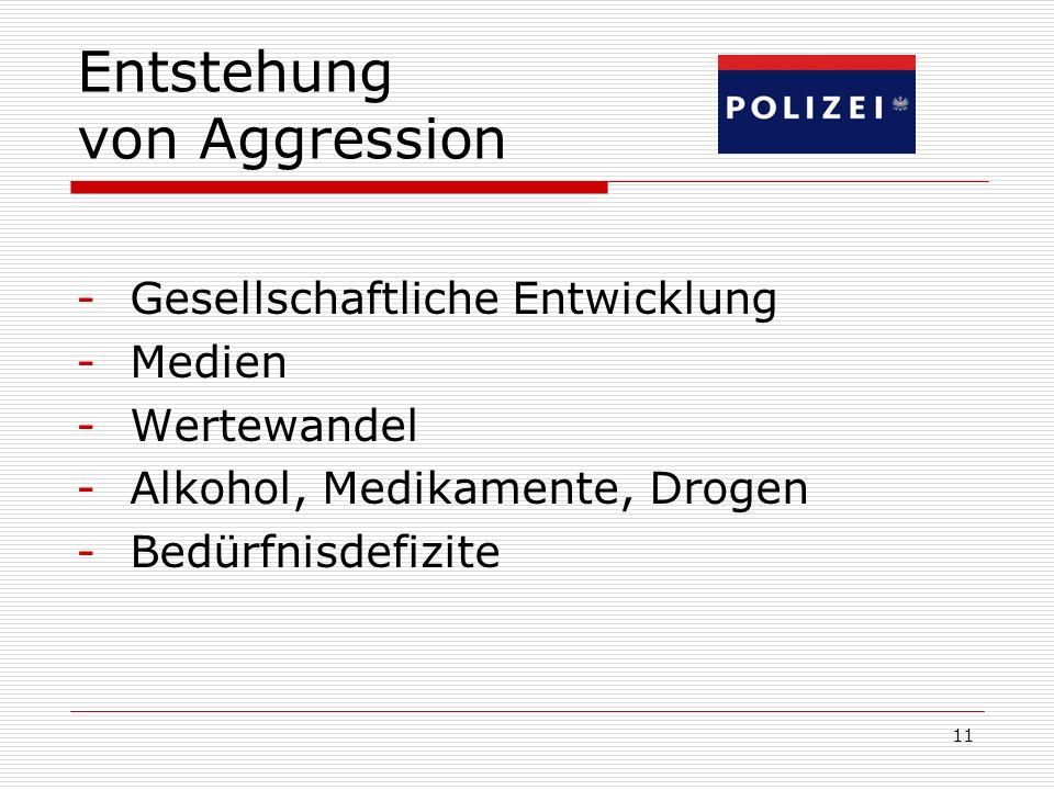 11 Entstehung von Aggression -Gesellschaftliche Entwicklung -Medien -Wertewandel -Alkohol, Medikamente, Drogen -Bedürfnisdefizite