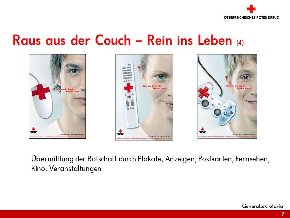 7 Raus aus der Couch – Rein ins Leben (4) Übermittlung der Botschaft durch Plakate, Anzeigen, Postkarten, Fernsehen, Kino, Veranstaltungen