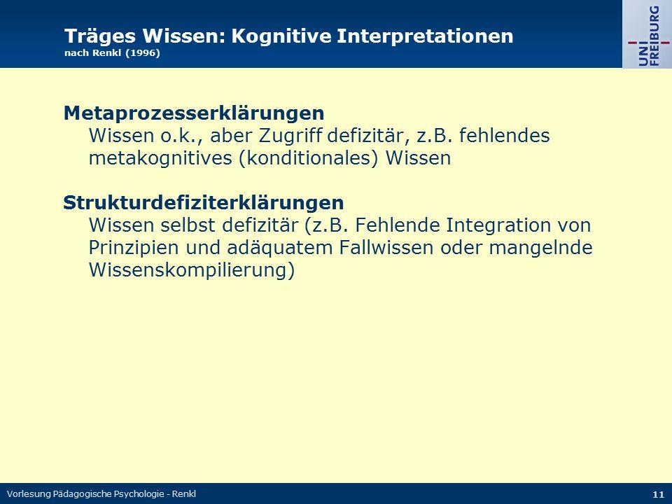 Vorlesung Pädagogische Psychologie - Renkl 11 Träges Wissen: Kognitive Interpretationen nach Renkl (1996) Metaprozesserklärungen Wissen o.k., aber Zug