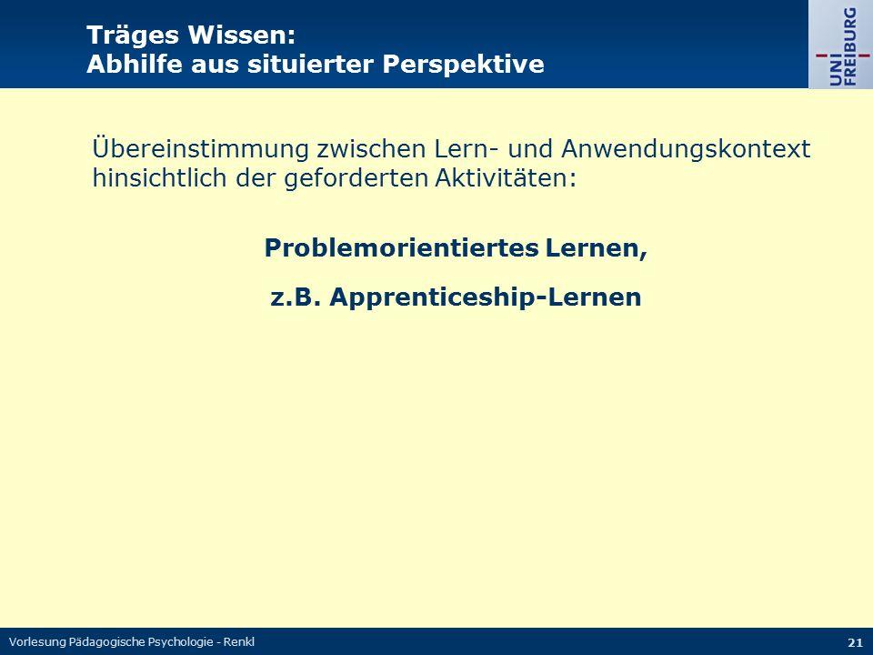 Vorlesung Pädagogische Psychologie - Renkl 21 Träges Wissen: Abhilfe aus situierter Perspektive Übereinstimmung zwischen Lern- und Anwendungskontext h