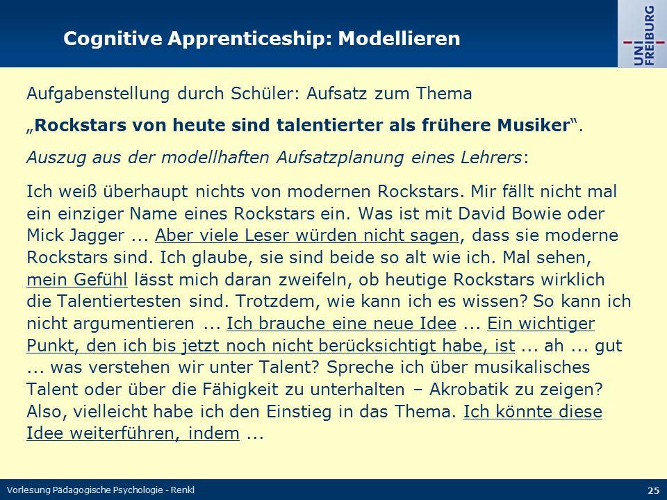 """Vorlesung Pädagogische Psychologie - Renkl 25 Cognitive Apprenticeship: Modellieren Aufgabenstellung durch Schüler: Aufsatz zum Thema """"Rockstars von h"""