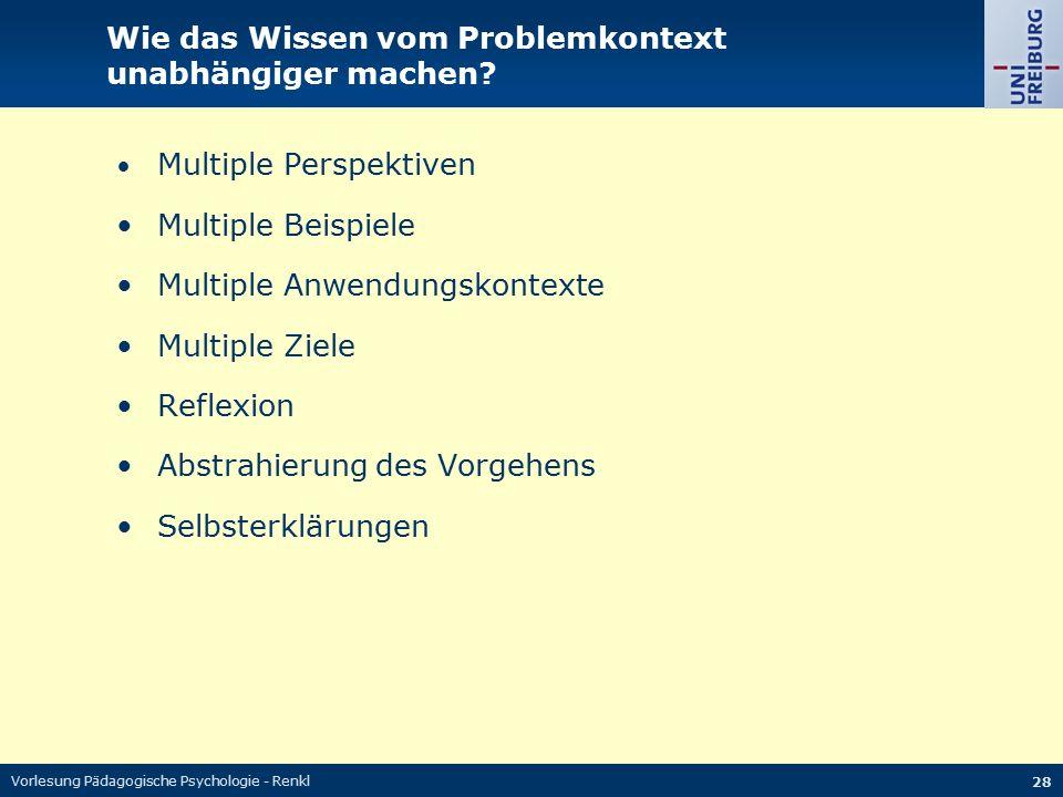 Vorlesung Pädagogische Psychologie - Renkl 28 Wie das Wissen vom Problemkontext unabhängiger machen? Multiple Perspektiven Multiple Beispiele Multiple