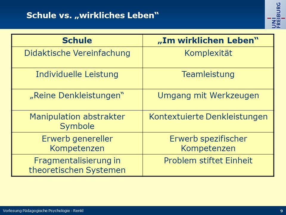 """Vorlesung Pädagogische Psychologie - Renkl 9 Schule vs. """"wirkliches Leben"""" Schule""""Im wirklichen Leben"""" Didaktische VereinfachungKomplexität Individuel"""