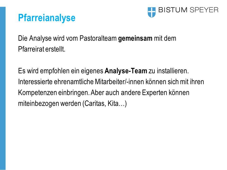 Pfarreianalyse Die Analyse wird vom Pastoralteam gemeinsam mit dem Pfarreirat erstellt.