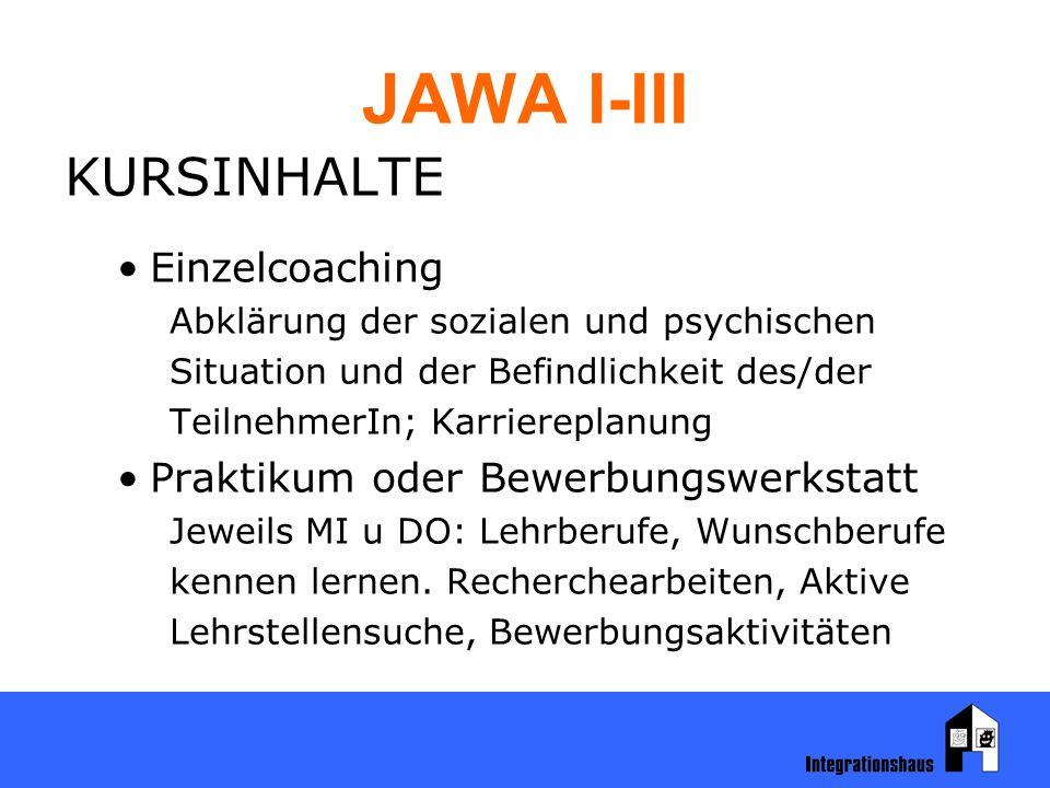 JAWA I-III KURSINHALTE Einzelcoaching Abklärung der sozialen und psychischen Situation und der Befindlichkeit des/der TeilnehmerIn; Karriereplanung Praktikum oder Bewerbungswerkstatt Jeweils MI u DO: Lehrberufe, Wunschberufe kennen lernen.
