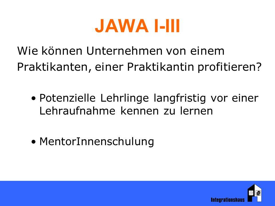 JAWA I-III Wie können Unternehmen von einem Praktikanten, einer Praktikantin profitieren? Potenzielle Lehrlinge langfristig vor einer Lehraufnahme ken