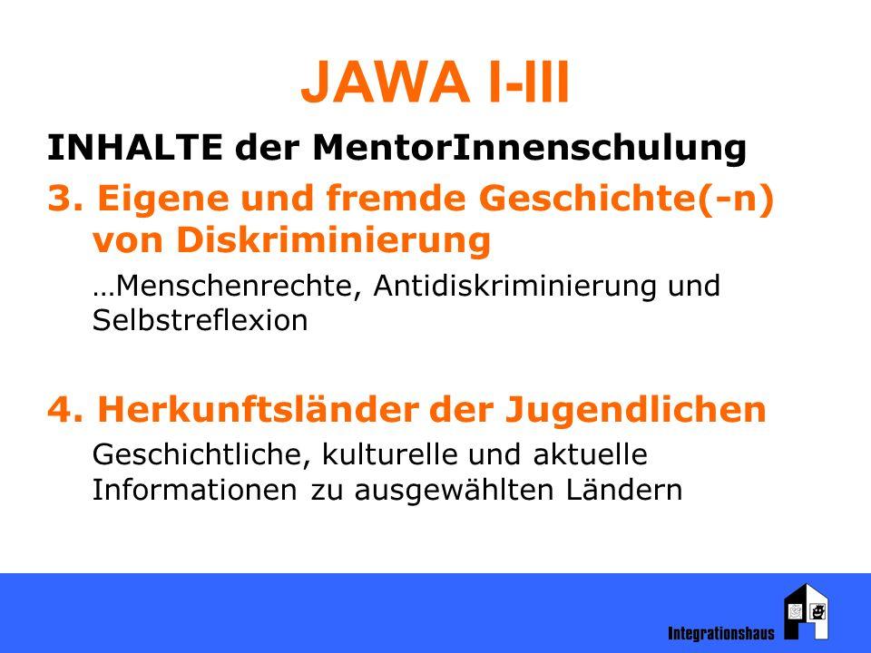JAWA I-III INHALTE der MentorInnenschulung 3. Eigene und fremde Geschichte(-n) von Diskriminierung …Menschenrechte, Antidiskriminierung und Selbstrefl
