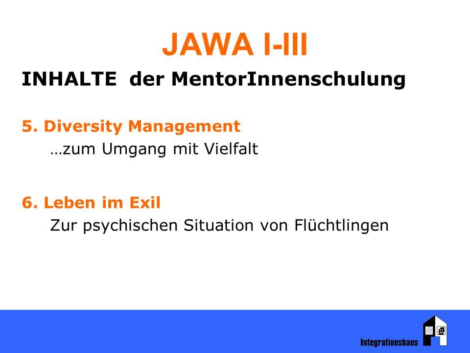 JAWA I-III INHALTE der MentorInnenschulung 5. Diversity Management …zum Umgang mit Vielfalt 6. Leben im Exil Zur psychischen Situation von Flüchtlinge