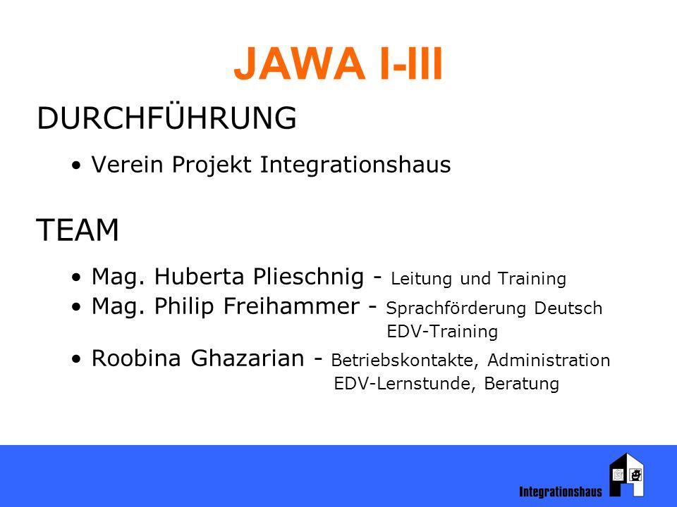 JAWA I-III DURCHFÜHRUNG Verein Projekt Integrationshaus TEAM Mag. Huberta Plieschnig - Leitung und Training Mag. Philip Freihammer - Sprachförderung D