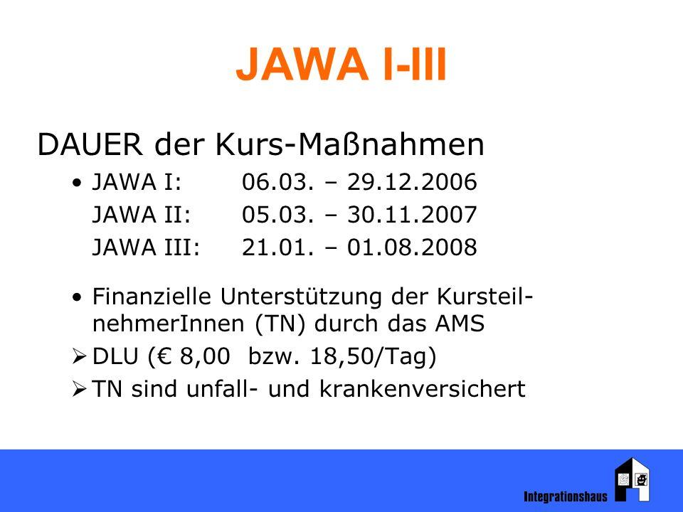JAWA I-III DAUER der Kurs-Maßnahmen JAWA I:06.03. – 29.12.2006 JAWA II:05.03. – 30.11.2007 JAWA III:21.01. – 01.08.2008 Finanzielle Unterstützung der