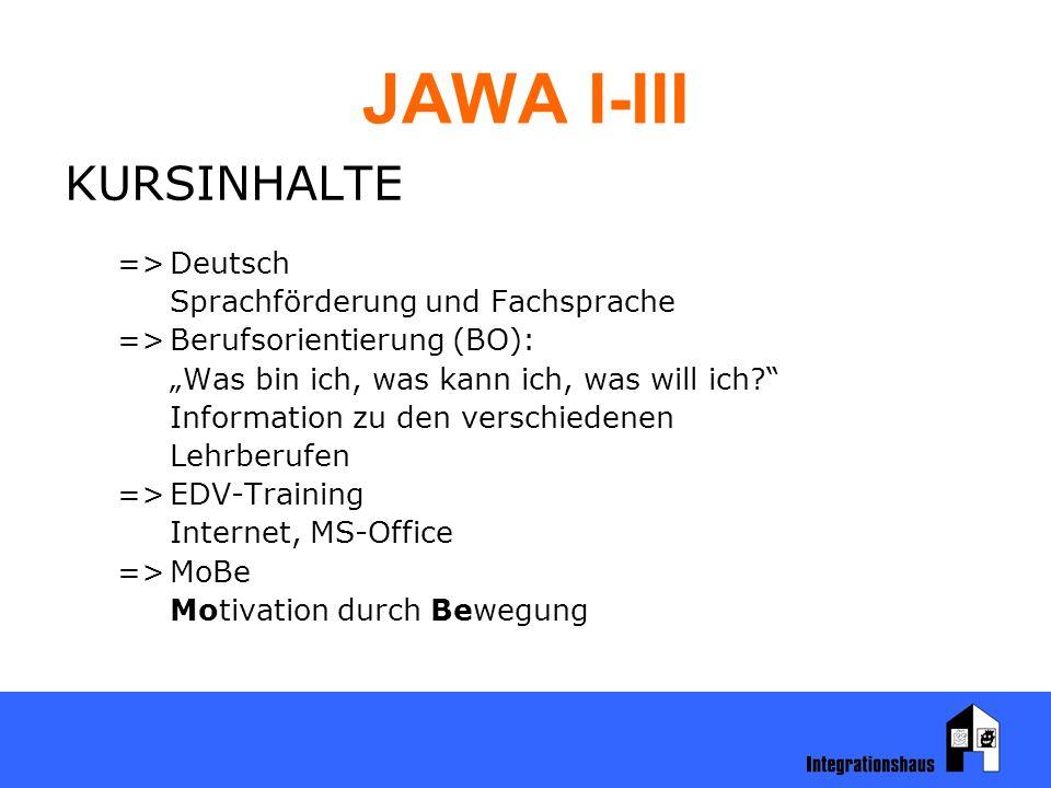 """JAWA I-III KURSINHALTE =>Deutsch Sprachförderung und Fachsprache =>Berufsorientierung (BO): """"Was bin ich, was kann ich, was will ich Information zu den verschiedenen Lehrberufen =>EDV-Training Internet, MS-Office =>MoBe Motivation durch Bewegung"""