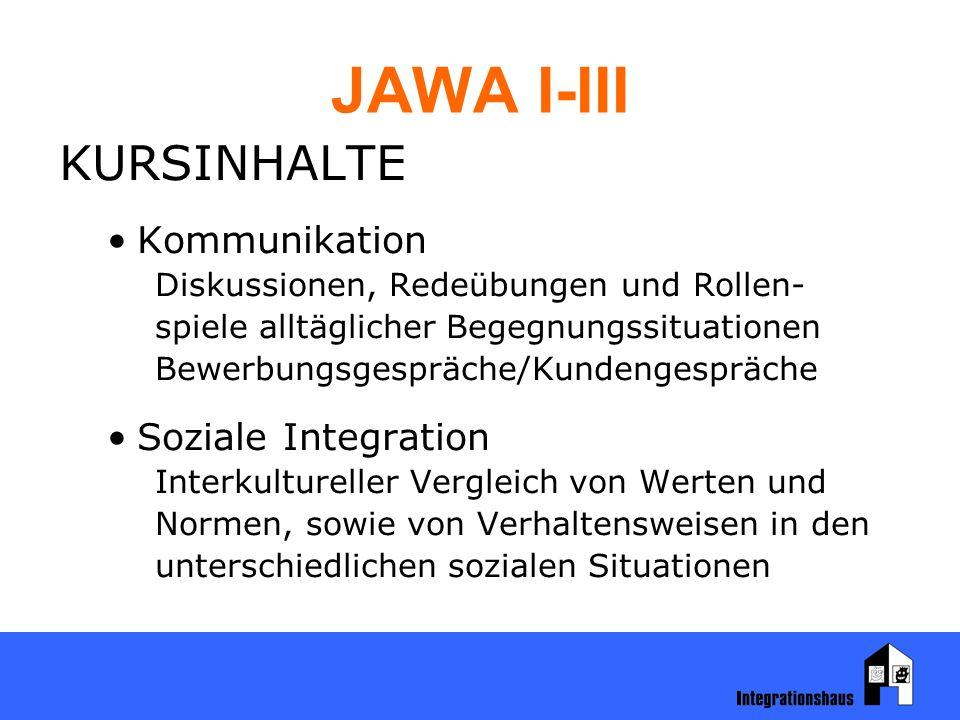 JAWA I-III KURSINHALTE Kommunikation Diskussionen, Redeübungen und Rollen- spiele alltäglicher Begegnungssituationen Bewerbungsgespräche/Kundengespräche Soziale Integration Interkultureller Vergleich von Werten und Normen, sowie von Verhaltensweisen in den unterschiedlichen sozialen Situationen