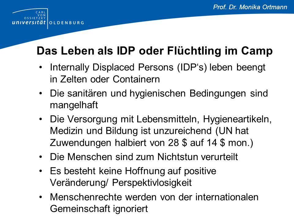 Prof. Dr. Monika Ortmann Das Leben als IDP oder Flüchtling im Camp Internally Displaced Persons (IDP's) leben beengt in Zelten oder Containern Die san