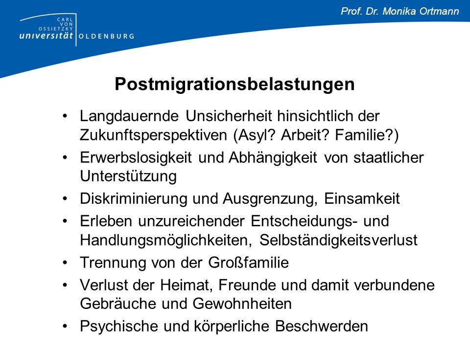 Prof. Dr. Monika Ortmann Postmigrationsbelastungen Langdauernde Unsicherheit hinsichtlich der Zukunftsperspektiven (Asyl? Arbeit? Familie?) Erwerbslos