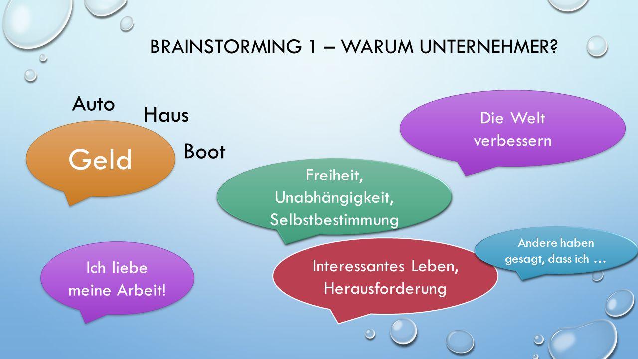 BRAINSTORMING 1 – WARUM UNTERNEHMER.
