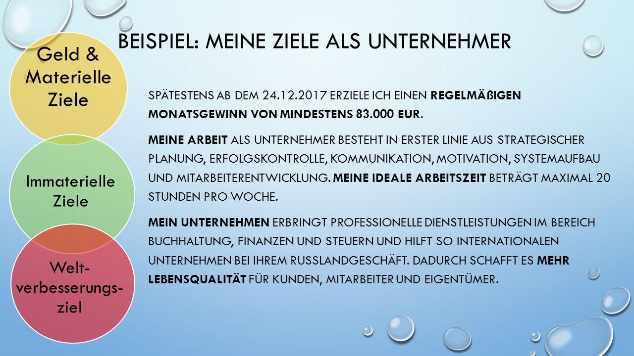 BEISPIEL: MEINE ZIELE ALS UNTERNEHMER SPÄTESTENS AB DEM 24.12.2017 ERZIELE ICH EINEN REGELMÄßIGEN MONATSGEWINN VON MINDESTENS 83.000 EUR. MEINE ARBEIT