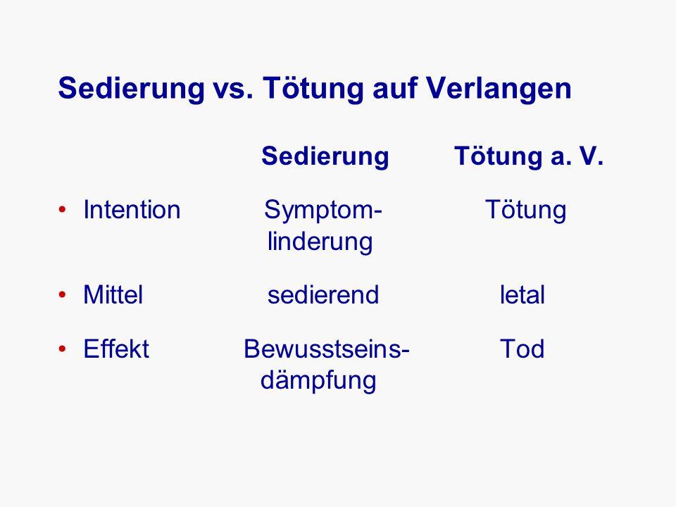 Sedierung vs. Tötung auf Verlangen Sedierung Tötung a.