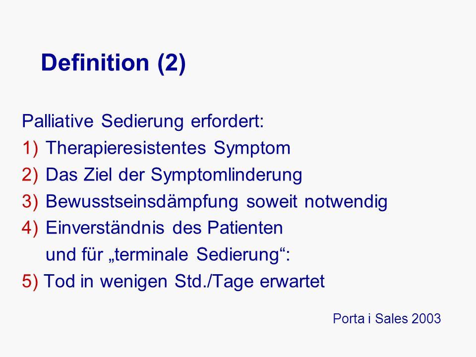 """Definition (2) Palliative Sedierung erfordert: 1)Therapieresistentes Symptom 2)Das Ziel der Symptomlinderung 3)Bewusstseinsdämpfung soweit notwendig 4)Einverständnis des Patienten und für """"terminale Sedierung : 5) Tod in wenigen Std./Tage erwartet Porta i Sales 2003"""