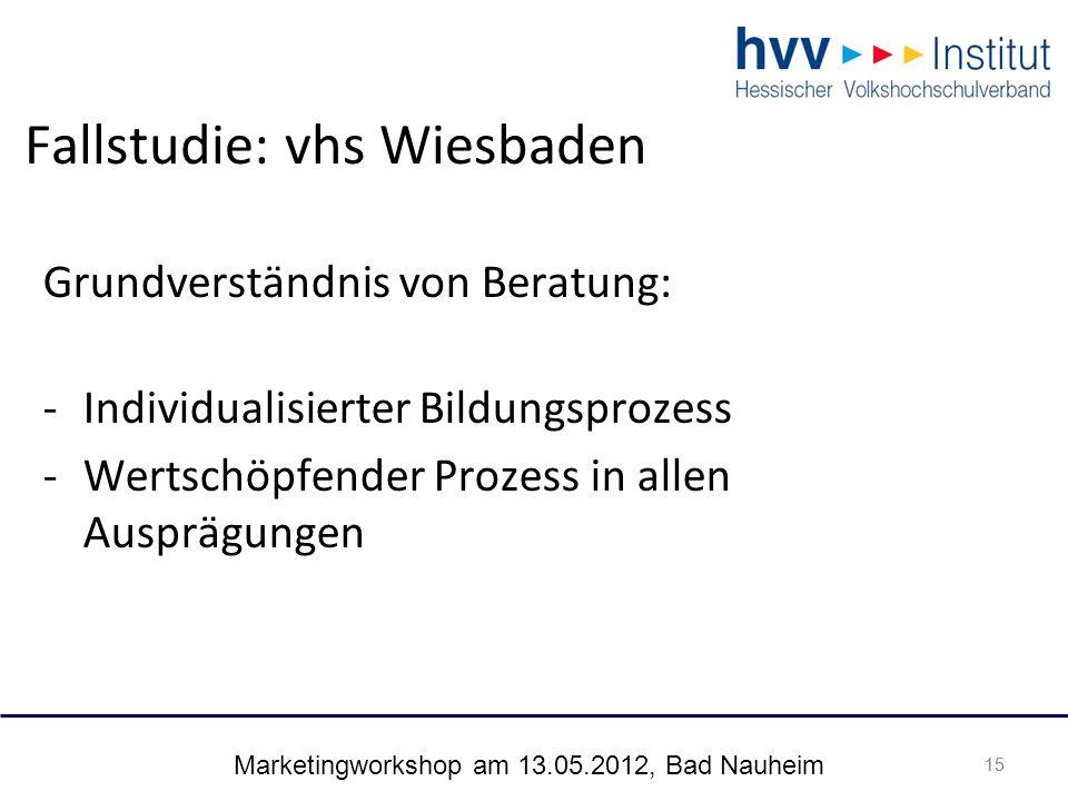 Marketingworkshop am 13.05.2012, Bad Nauheim 15 Fallstudie: vhs Wiesbaden 15 Grundverständnis von Beratung: -Individualisierter Bildungsprozess -Wertschöpfender Prozess in allen Ausprägungen