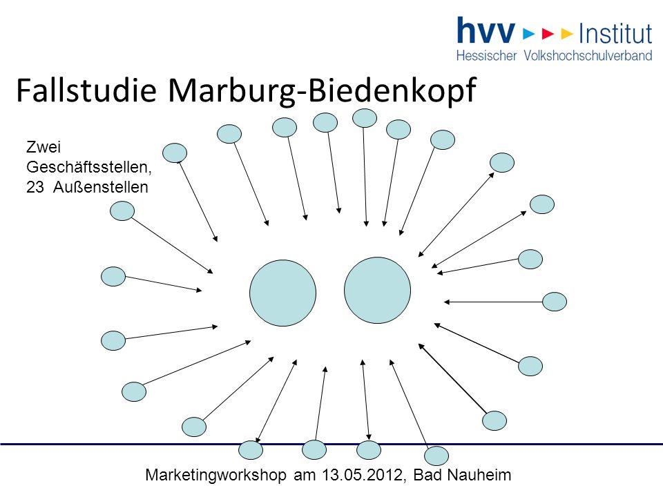 Marketingworkshop am 13.05.2012, Bad Nauheim 23 Fallstudie Marburg-Biedenkopf Zwei Geschäftsstellen, 23 Außenstellen