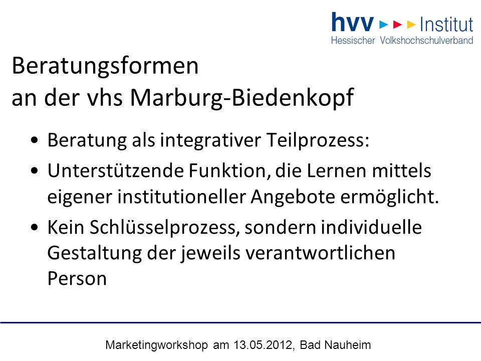 Marketingworkshop am 13.05.2012, Bad Nauheim 26 Beratungsformen an der vhs Marburg-Biedenkopf Beratung als integrativer Teilprozess: Unterstützende Fu