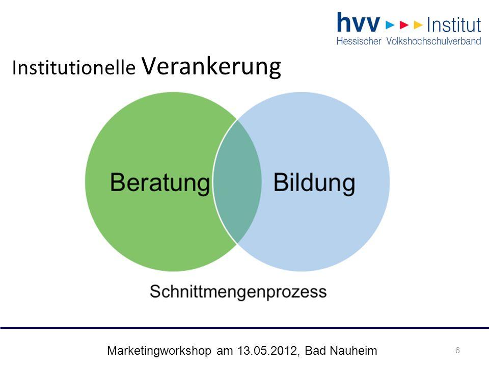 Marketingworkshop am 13.05.2012, Bad Nauheim 7 Institutionelle Verankerung: eigenständiger Prozess 7