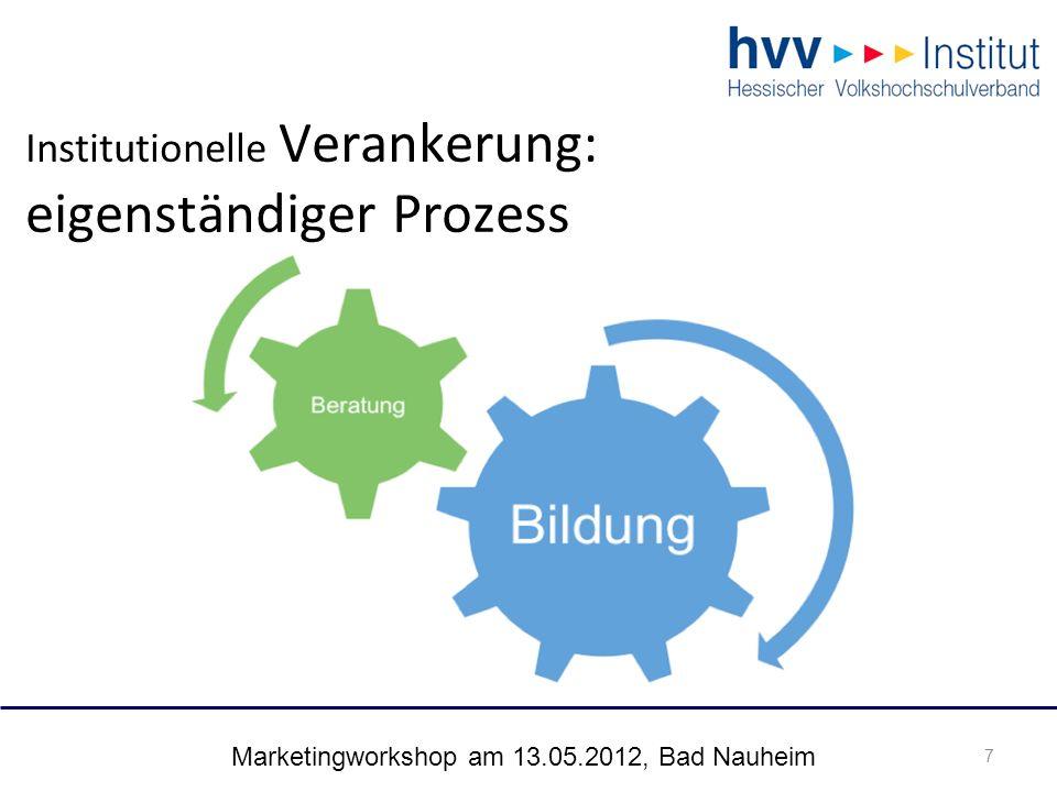 """Marketingworkshop am 13.05.2012, Bad Nauheim 18 Fallstudie vhs Wiesbaden Beratung als Lernform: """"Wir verstehen uns als Multiplikatoren für zukunftsweisende, innovative Angebote und Lernformen (Leitbild vhs Wiesbaden)"""