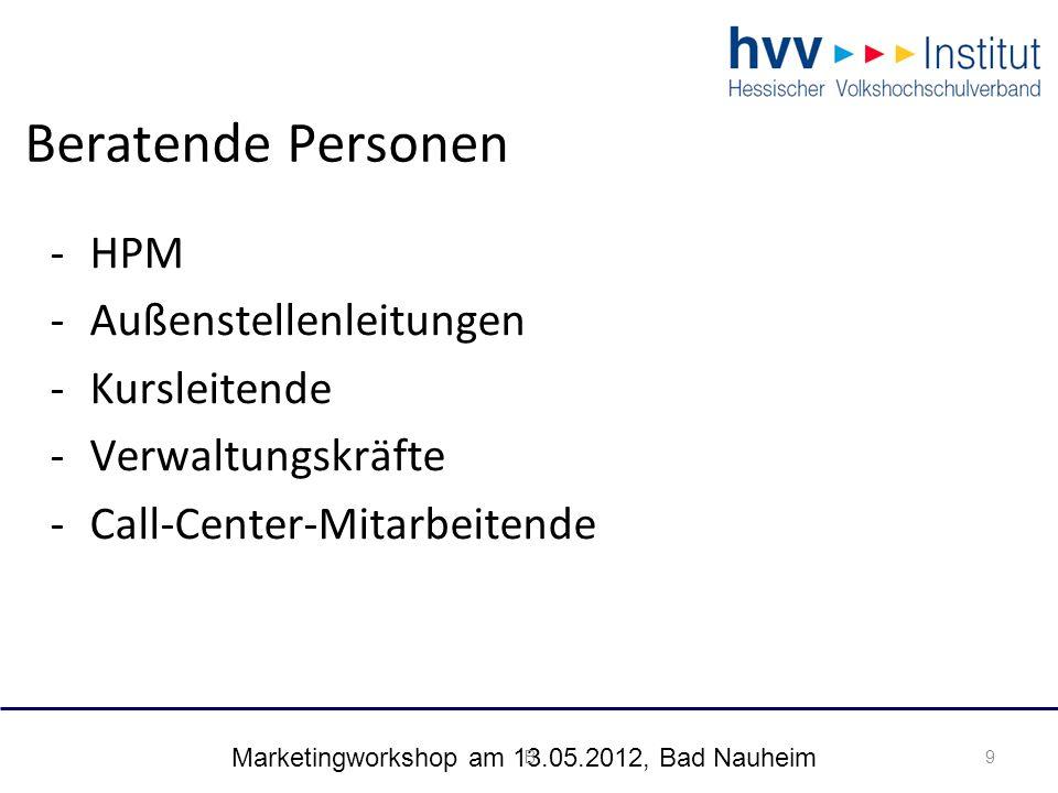 Marketingworkshop am 13.05.2012, Bad Nauheim 20 Umsetzungsstrategien: 20 Kurse: Integrierte Beratung vor Anmeldung & Beratung als Lernform Projekte: Akquise & Beratung als Lernform