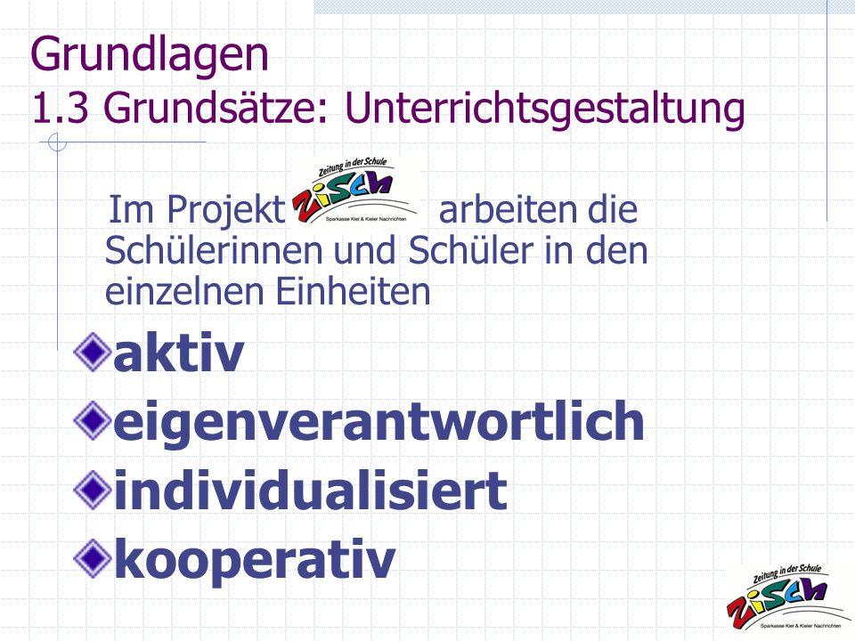 Grundlagen 1.3 Grundsätze: Unterrichtsgestaltung Im Projekt arbeiten die Schülerinnen und Schüler in den einzelnen Einheiten aktiv eigenverantwortlich individualisiert kooperativ