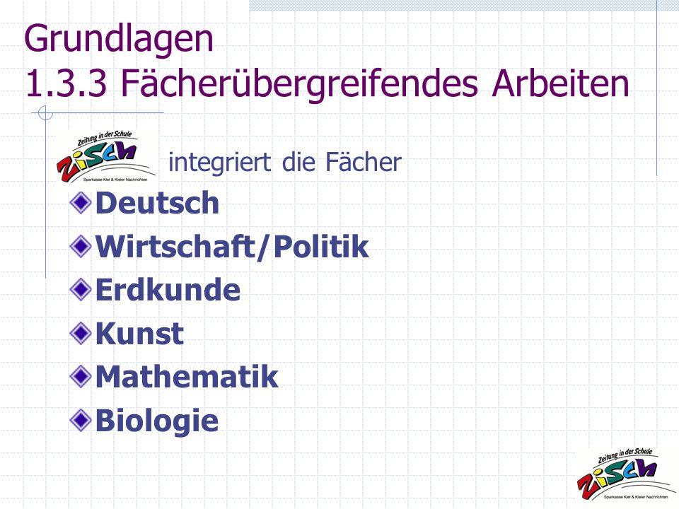 Grundlagen 1.3.3 Fächerübergreifendes Arbeiten integriert die Fächer Deutsch Wirtschaft/Politik Erdkunde Kunst Mathematik Biologie