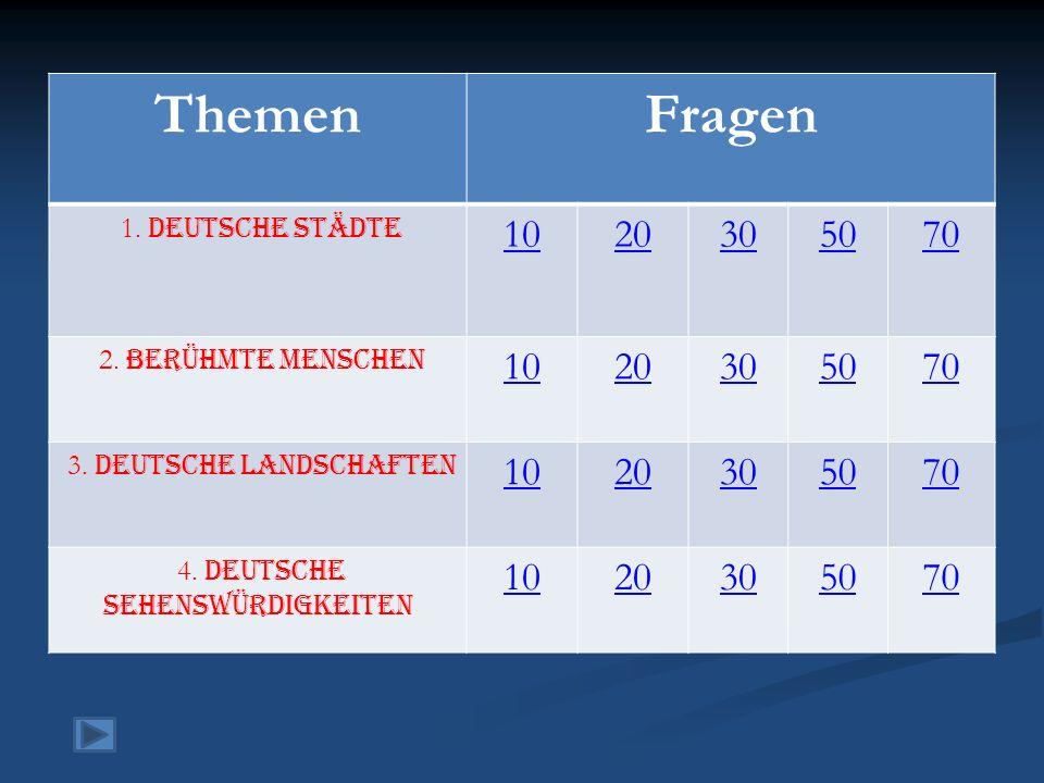 ThemenFragen 1. Deutsche Städte 1020305070 2. Berühmte Menschen 1020305070 3. Deutsche Landschaften 1020305070 4. Deutsche Sehenswürdigkeiten 10203050