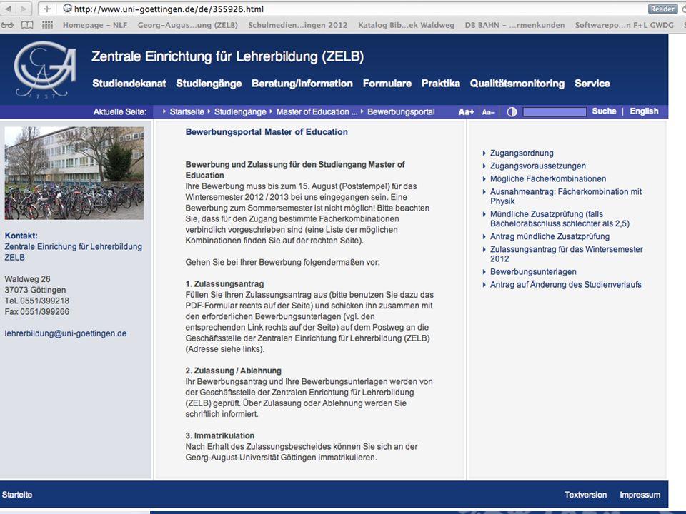 Zentrale Einrichtung für Lehrerbildung (ZELB) Bewerbungsportal