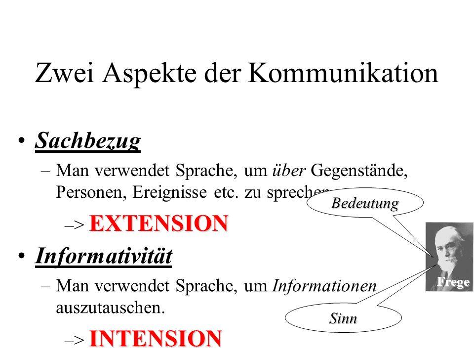 Frege Zwei Aspekte der Kommunikation Sachbezug –M–Man verwendet Sprache, um über Gegenstände, Personen, Ereignisse etc.