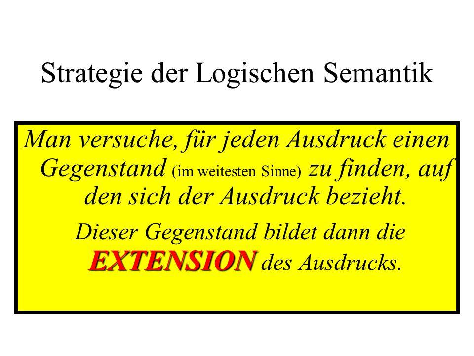 Strategie der Logischen Semantik Man versuche, für jeden Ausdruck einen Gegenstand (im weitesten Sinne) zu finden, auf den sich der Ausdruck bezieht.