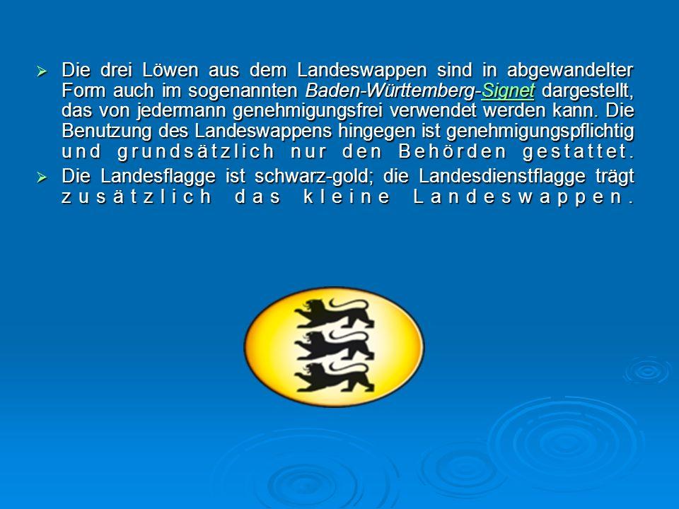  Die drei Löwen aus dem Landeswappen sind in abgewandelter Form auch im sogenannten Baden-Württemberg-Signet dargestellt, das von jedermann genehmigungsfrei verwendet werden kann.