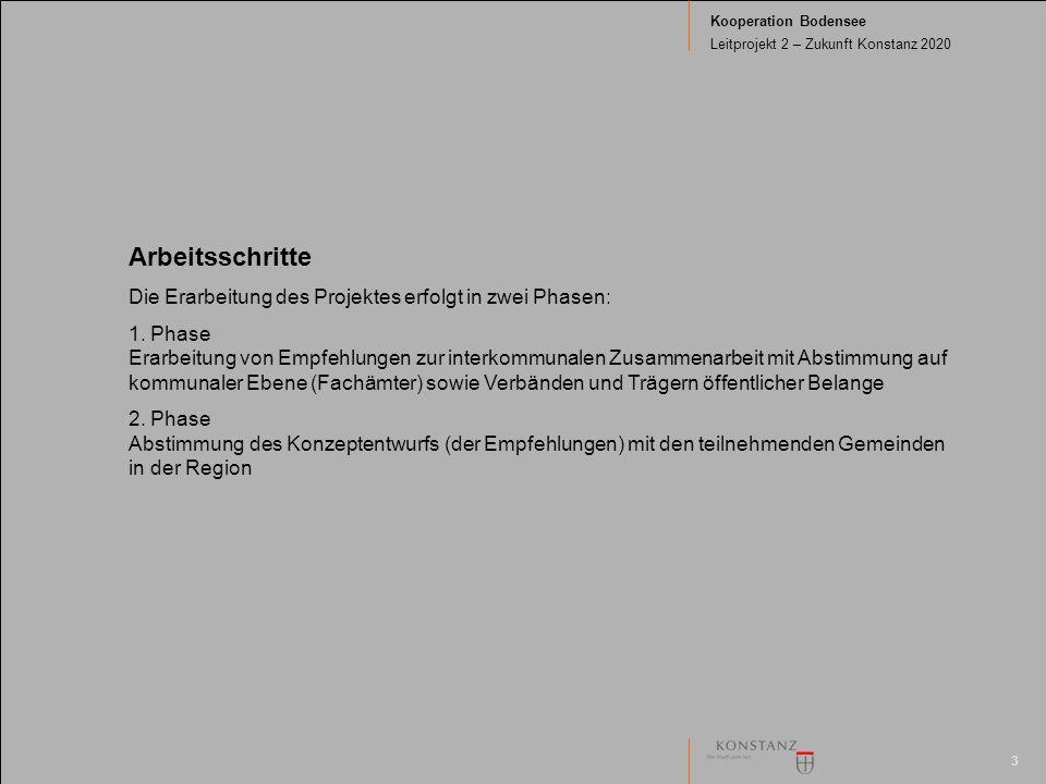 3 Kooperation Bodensee Leitprojekt 2 – Zukunft Konstanz 2020 Arbeitsschritte Die Erarbeitung des Projektes erfolgt in zwei Phasen: 1. Phase Erarbeitun