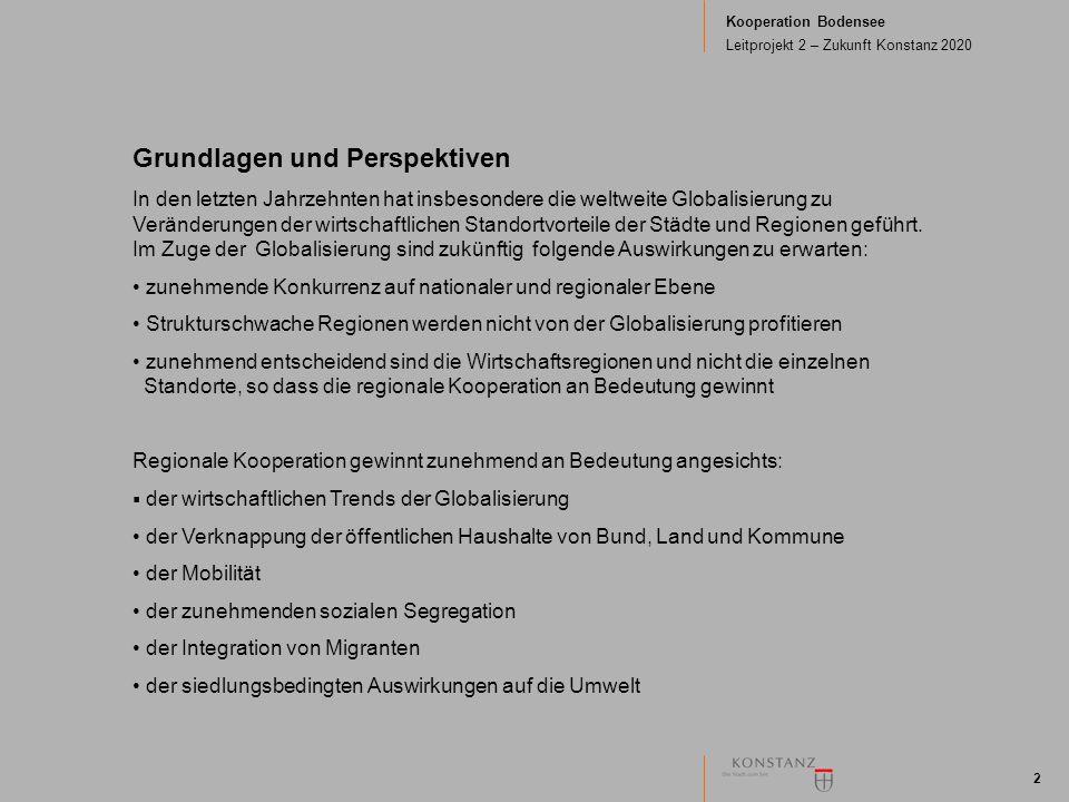 Kooperation Bodensee Leitprojekt 2 – Zukunft Konstanz 2020 2 Grundlagen und Perspektiven In den letzten Jahrzehnten hat insbesondere die weltweite Glo