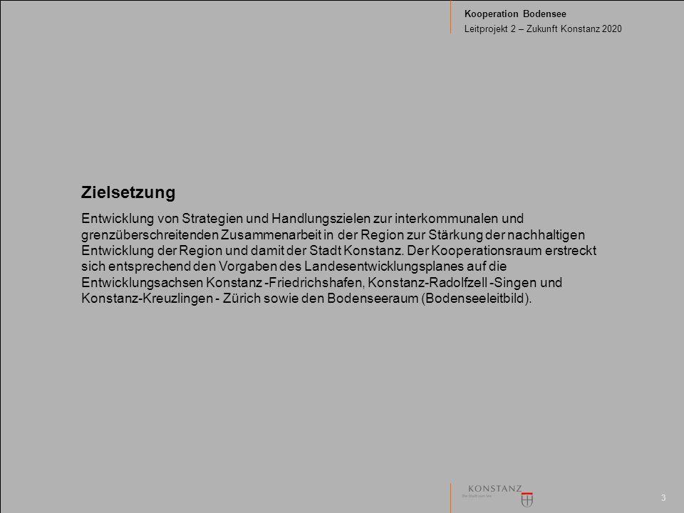 3 Kooperation Bodensee Leitprojekt 2 – Zukunft Konstanz 2020 Zielsetzung Entwicklung von Strategien und Handlungszielen zur interkommunalen und grenzüberschreitenden Zusammenarbeit in der Region zur Stärkung der nachhaltigen Entwicklung der Region und damit der Stadt Konstanz.