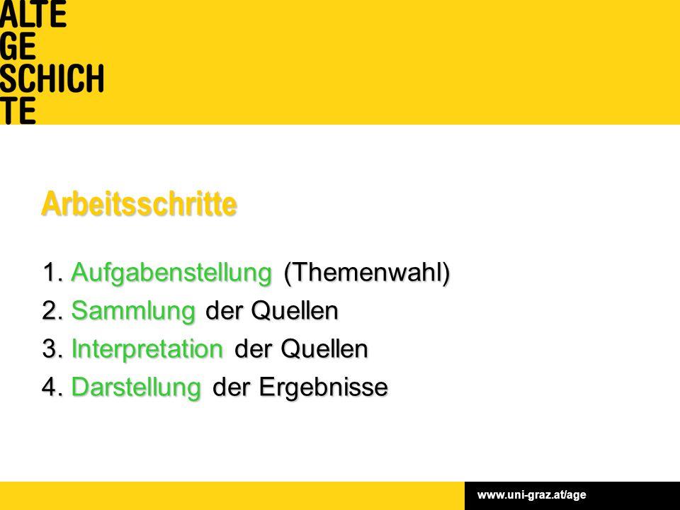 www.uni-graz.at/ageArbeitsschritte 1. Aufgabenstellung (Themenwahl) 2.