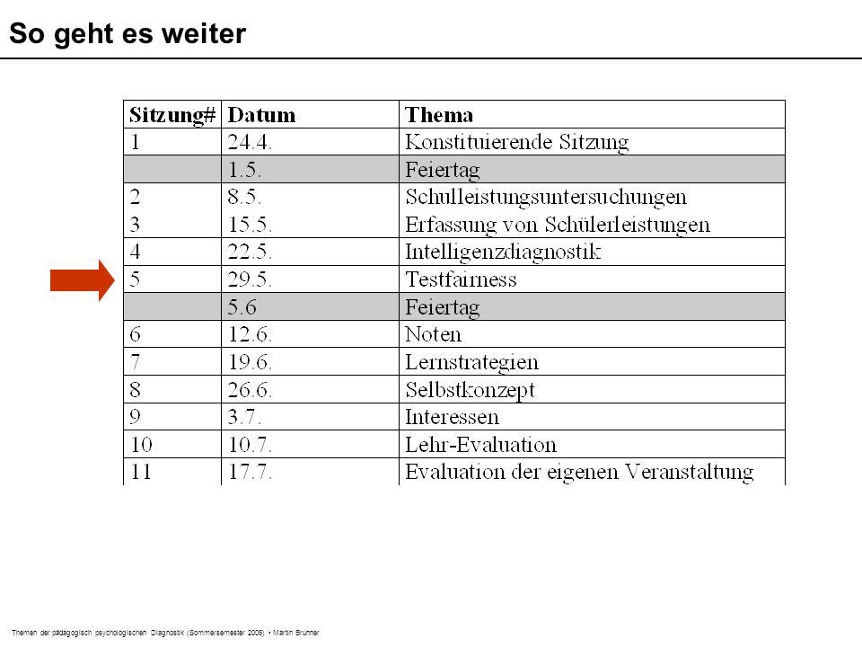 Themen der pädagogisch psychologischen Diagnostik (Sommersemester 2006) Martin Brunner So geht es weiter