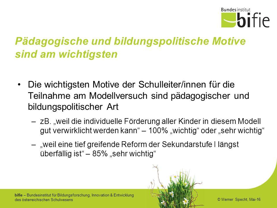 bifie – Bundesinstitut für Bildungsforschung, Innovation & Entwicklung des österreichischen Schulwesens © Werner Specht, Mai-16 Pädagogische und bildu