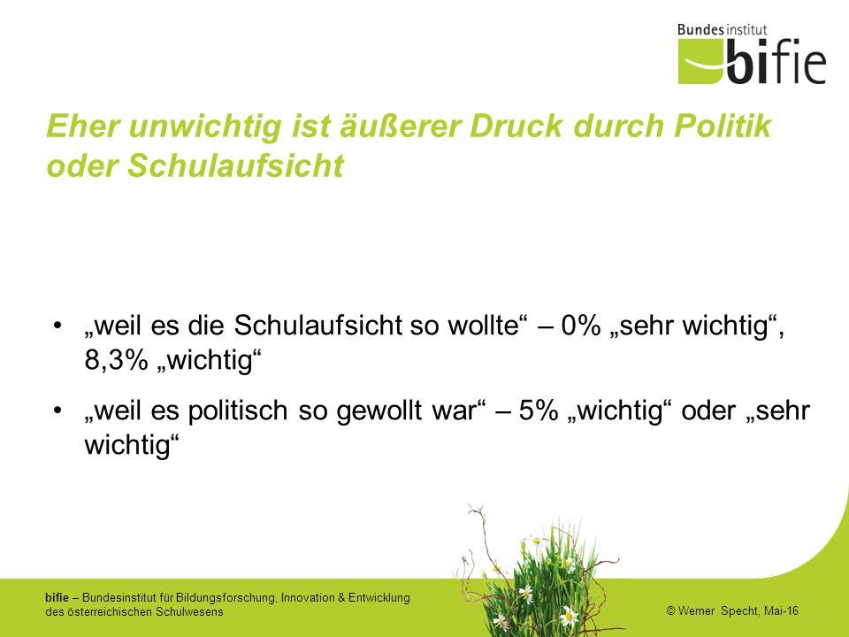 """bifie – Bundesinstitut für Bildungsforschung, Innovation & Entwicklung des österreichischen Schulwesens © Werner Specht, Mai-16 Eher unwichtig ist äußerer Druck durch Politik oder Schulaufsicht """"weil es die Schulaufsicht so wollte – 0% """"sehr wichtig , 8,3% """"wichtig """"weil es politisch so gewollt war – 5% """"wichtig oder """"sehr wichtig"""
