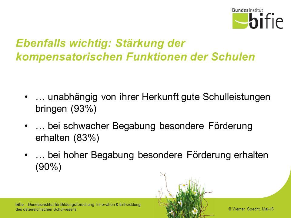 bifie – Bundesinstitut für Bildungsforschung, Innovation & Entwicklung des österreichischen Schulwesens © Werner Specht, Mai-16 Ebenfalls wichtig: Stä