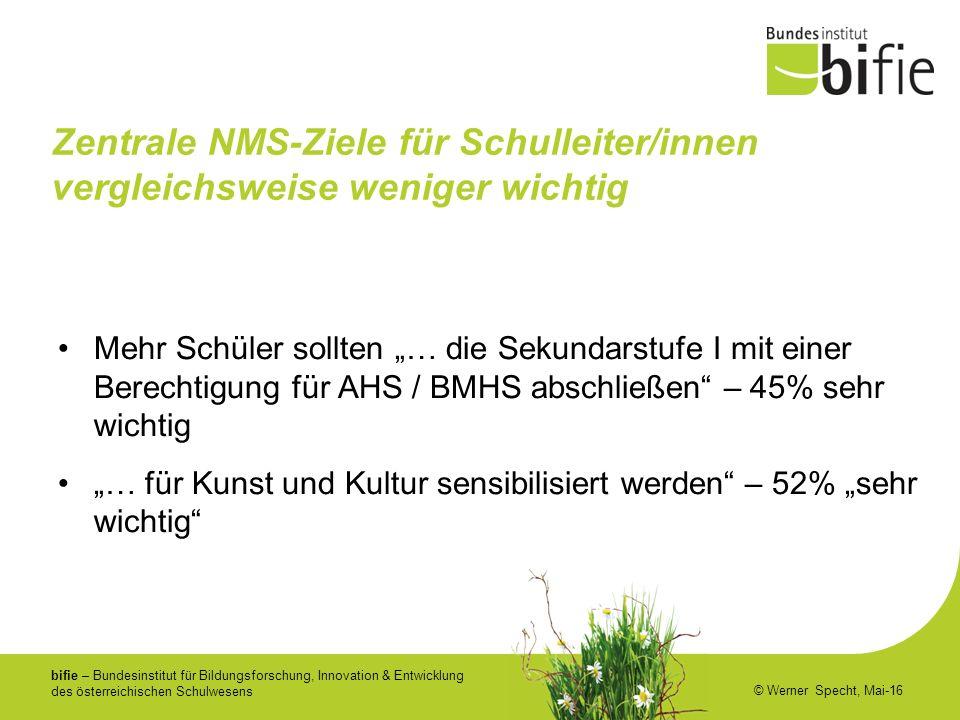 bifie – Bundesinstitut für Bildungsforschung, Innovation & Entwicklung des österreichischen Schulwesens © Werner Specht, Mai-16 Zentrale NMS-Ziele für