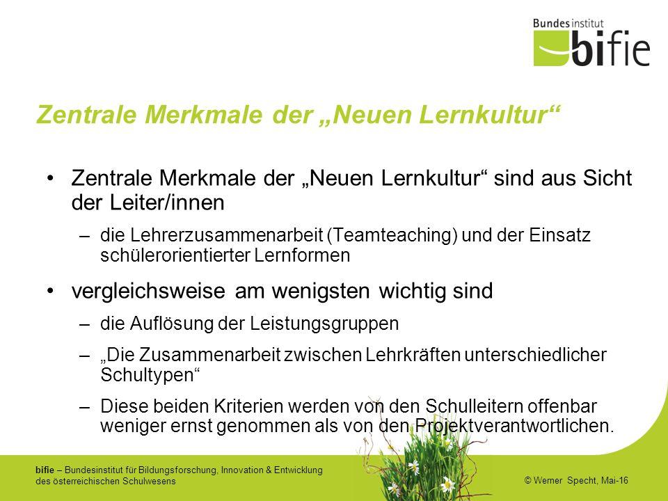 bifie – Bundesinstitut für Bildungsforschung, Innovation & Entwicklung des österreichischen Schulwesens © Werner Specht, Mai-16 Zentrale Merkmale der