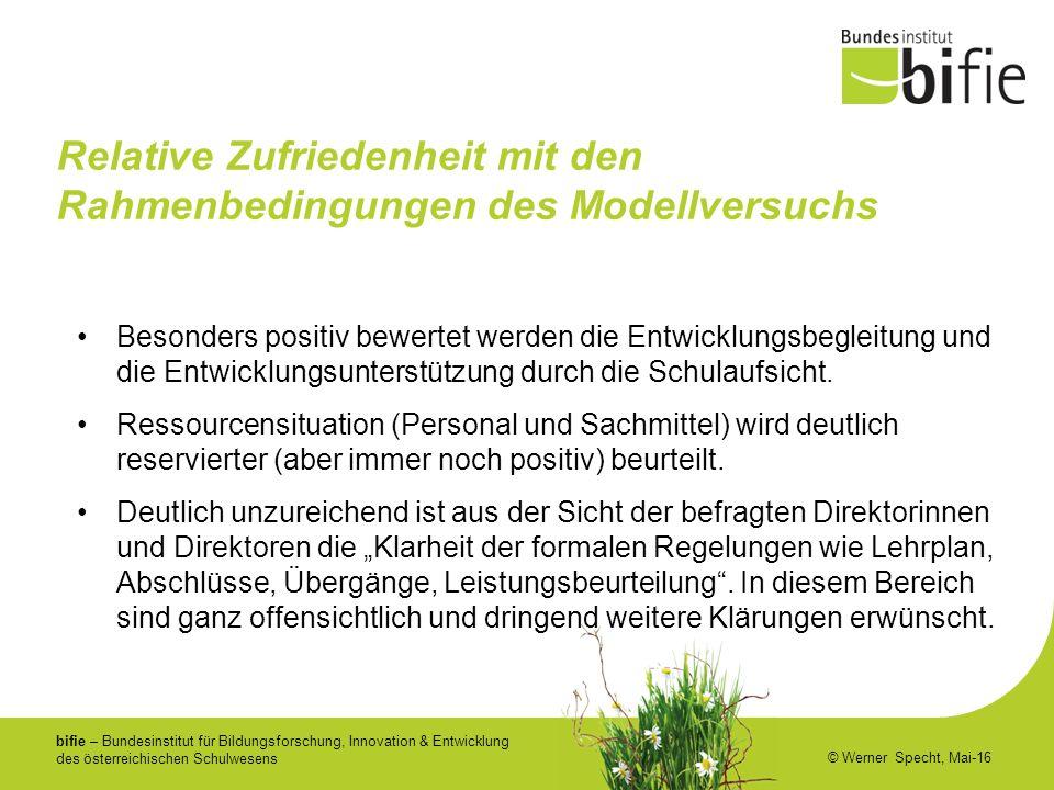 bifie – Bundesinstitut für Bildungsforschung, Innovation & Entwicklung des österreichischen Schulwesens © Werner Specht, Mai-16 Relative Zufriedenheit