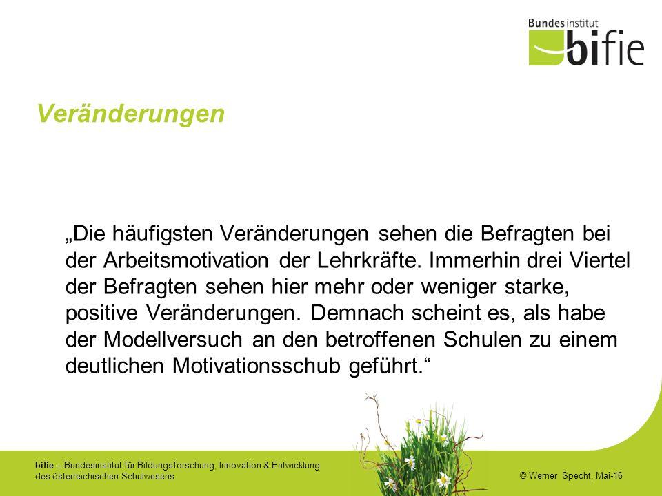 """bifie – Bundesinstitut für Bildungsforschung, Innovation & Entwicklung des österreichischen Schulwesens © Werner Specht, Mai-16 Veränderungen """"Die häufigsten Veränderungen sehen die Befragten bei der Arbeitsmotivation der Lehrkräfte."""