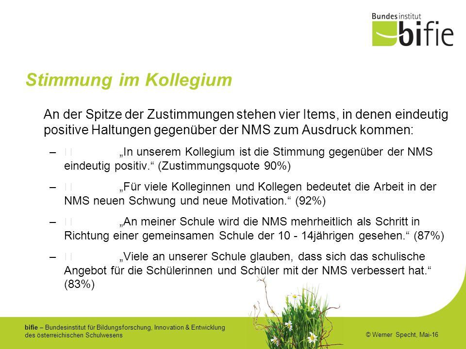bifie – Bundesinstitut für Bildungsforschung, Innovation & Entwicklung des österreichischen Schulwesens © Werner Specht, Mai-16 Stimmung im Kollegium
