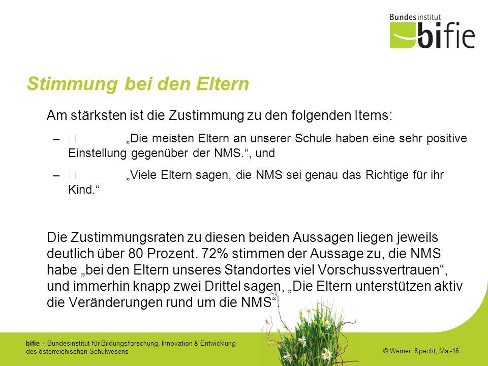 bifie – Bundesinstitut für Bildungsforschung, Innovation & Entwicklung des österreichischen Schulwesens © Werner Specht, Mai-16 Stimmung bei den Elter