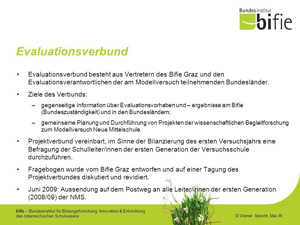 bifie – Bundesinstitut für Bildungsforschung, Innovation & Entwicklung des österreichischen Schulwesens © Werner Specht, Mai-16 Evaluationsverbund Eva